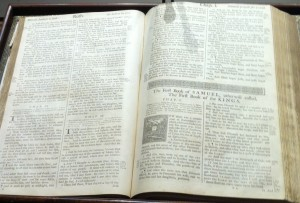 John Barnard's bible, which still rests at the front of the First Church in Marblehead.