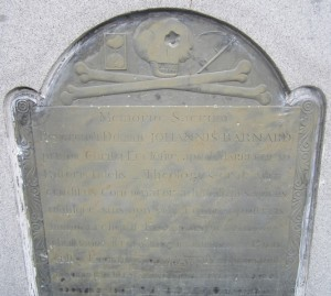 The headstone of John Barnard (1681-1770) in Old Burial Hill, Marblehead.
